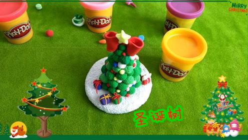 幼儿园手工彩泥 圣诞树 亲子游戏 手工彩泥课堂