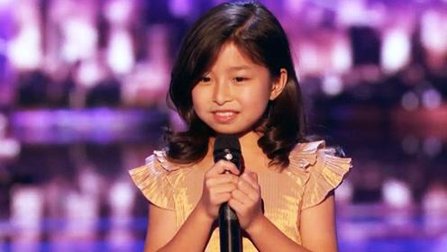 九岁中国小女孩参加美国选秀 一开口就让评委惊呼太有天赋了