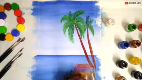水彩初学者入门课之海滨,水彩风景篇