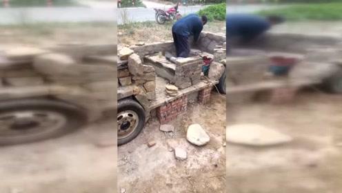 农村大叔用石头造出这玩意,太牛了!