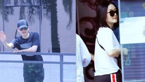 谢娜产后与张杰合体录《快本》 两人一前一后分开进场