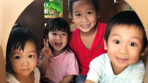 陈浩民四个孩子做手工纸屋 自制星空屋顶很梦幻