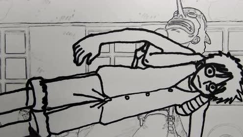 乌索普想帮路飞把脚拔出来,结果却是脚越拔越长