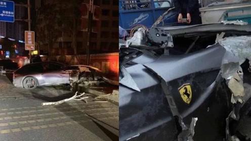 男子借朋友的跑车超速驾驶 百万法拉利撞上护栏