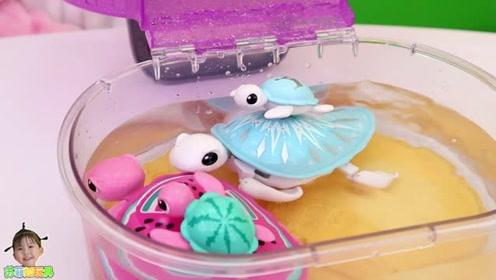 《苏菲娅玩具》玩具海龟妈妈带着龟宝宝在水族箱游泳咯!