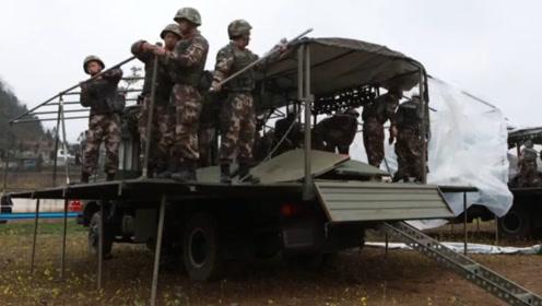 """速来围观!解放军运输卡车开启新功能,10分钟变成""""房车"""""""