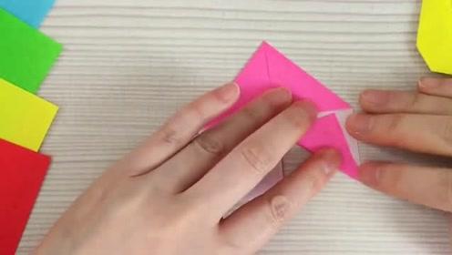 折纸教程,教你用彩纸DIY一款漂亮的创意贺卡