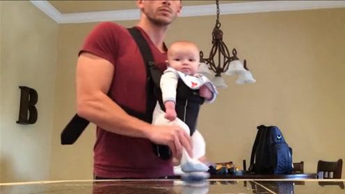 老爸带5个月的娃跳太空步,宝宝表情太逗了