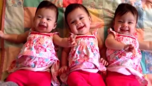 这三胞胎太好哄了,妈妈打个喷嚏,三个娃立马笑开了花