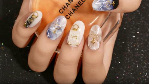 华丽简约大理石纹美甲 优雅知性从手指开始