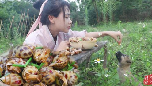 江湖辣炒香螺,女侠1人吃1盆,一口一个,看着好过瘾