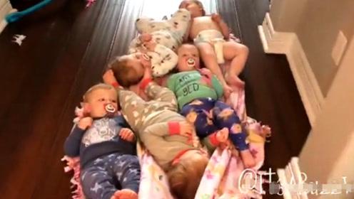 老爸一人带着五胞胎一起玩耍,下一秒这画面,简直太可爱了