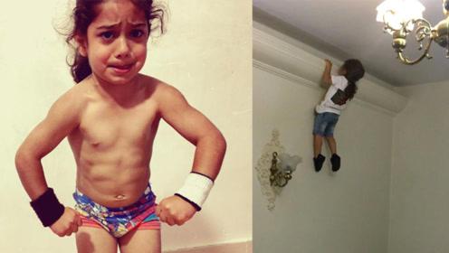 天才运动员!3岁娃娃能爬墙能空翻满身肌肉