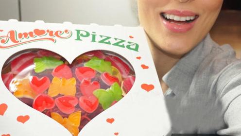 是用软糖堆起的披萨,充满神奇魔力,造型很诱人!
