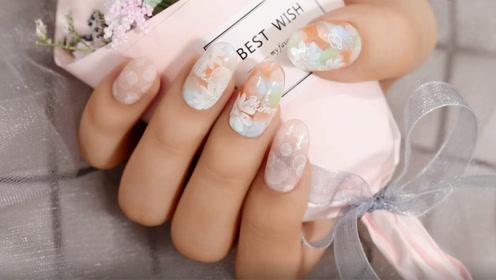 夏日清新泡泡小花美甲 从手指开始做糖果女孩吧