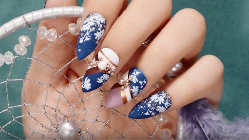 蓝白色系温柔和风美甲 优雅女孩的指尖必需