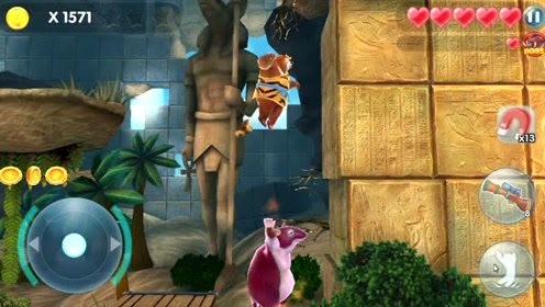 熊出没大怪兽钻地鼠躲在墙角被熊大发现,熊大把它踩消失