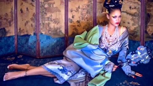蕾哈娜欧美妆蛾翅眉,驾驭中国风毫不违和,不愧是山东天后
