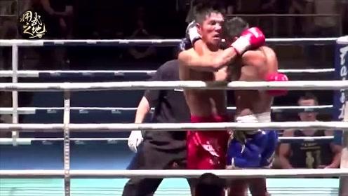 泰拳王考与日本高手对轰!结果一肘干翻KO获胜!