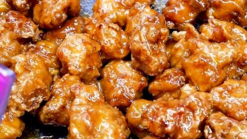 韩国街头小吃,香甜可口的脆皮甜鸡