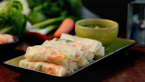 精致简单的虾肉粉丝春卷,好吃到停不下来