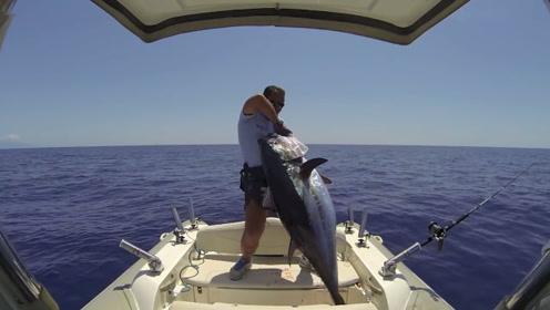 钓那么大的鱼,就要戴好专业工具,不然能累坏你