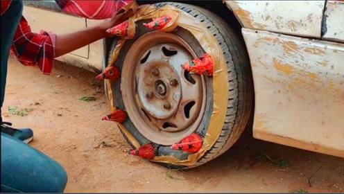 趣味实验:将烟花安装在轮胎上是什么样子?点然后车胎会爆吗