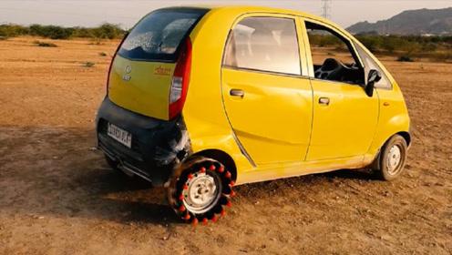 老外将可乐代替汽车轮胎,汽车转动没几秒,画面太精彩