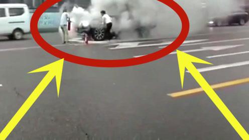 开路虎的女司机就是虎,车都自燃了,还是一点不怂,太牛了!