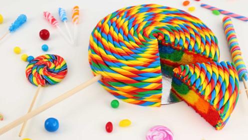 DIY彩虹棒棒糖蛋糕,真是太有创意了!