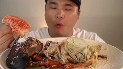 4kg大型龙虾吃播,这样吃太过瘾了吧,看饿了看饿了