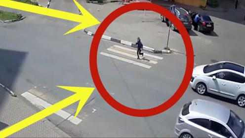 孩子太天真,四下张望后直接横穿马路,下秒太惨了!