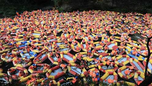 数千人避暑爆棚!贵州镇远一漂流场竟然堵船,现场似下饺子