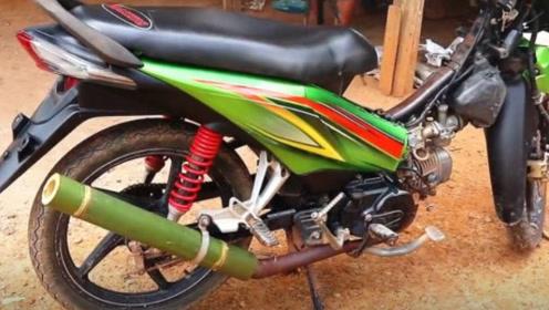 印度小哥把摩托排气管换成竹子,一脚油门下去,霸气才刚刚开始!