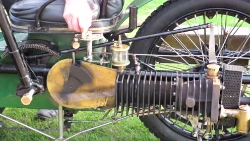 老头收藏80年前的三轮摩托车,声浪经典了!