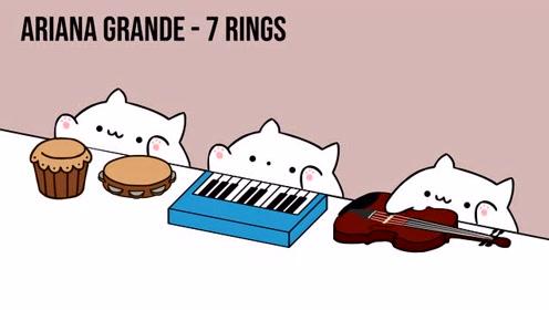 手鼓猫演绎喵喵版《7 rings》,可可爱爱