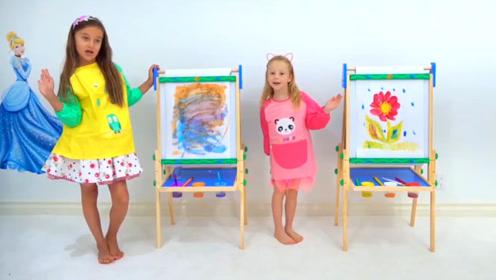 萌娃小可爱们画画比赛,艺术天赋差距太大,没有可比性呀!
