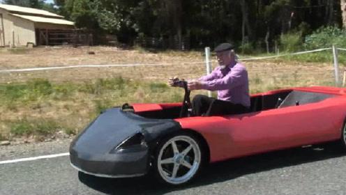 """英国教授发明""""人力汽车"""",时速可达200公里,就是有点费力!"""