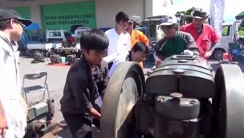 日本小孩拿出自家100年前发动机,启动那一刻,霸气开始!