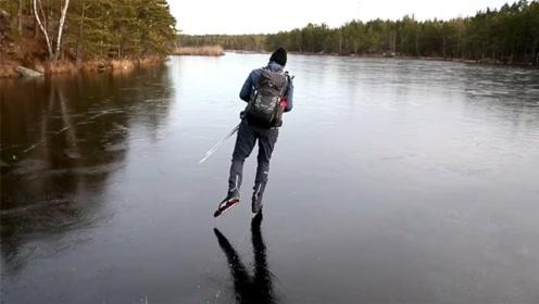 国外一冰滑大师,专挑冰层薄弱的冰面滑冰,看着就觉得刺激!