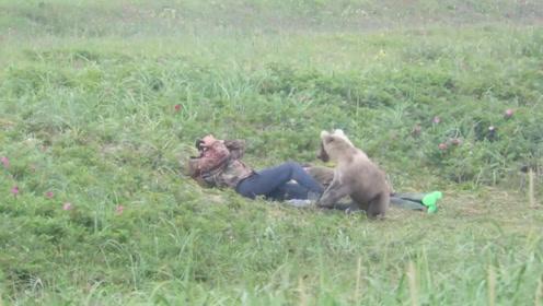 俄罗斯人民不怕熊?俩男子野外睡觉,一头小熊走过来,忍住别笑!