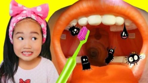小萝莉不爱刷牙,爸爸给她讲不刷牙的后果,成为了爱干净的乖宝宝