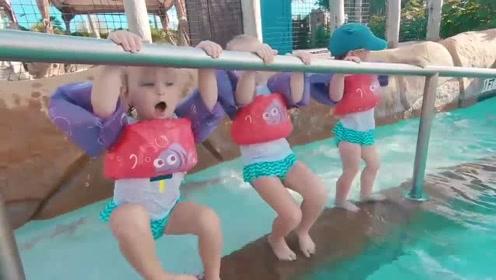 五胞胎水上乐园玩耍时刻,贴心爸爸全程陪玩保护,画面简直萌到爆