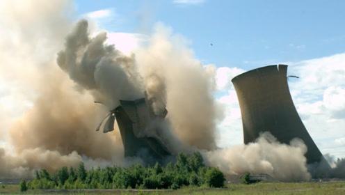 火电冷却塔拆除倒塌时是啥样子?老外用超高速摄像机记录整个过程