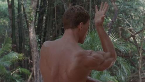 肌肉猛男隐居山林中,在大师指导下苦练跆拳道,用鞭腿踢断一棵树