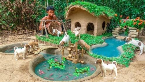 老外修建泥狗屋给狗狗们安家,小桥流水都齐了,狗狗们快回家!