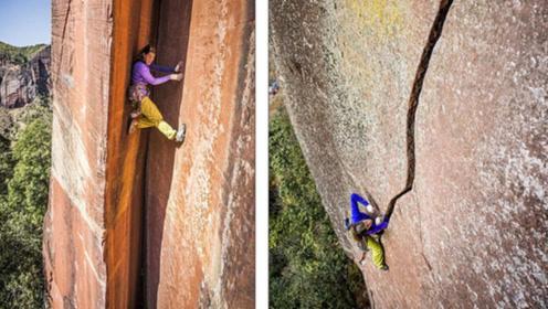 瑞士女教师,挑战云南305米高垂直裂缝,看着就刺激!