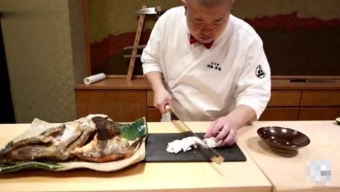 日本顶级厨师厨艺有多恐怖?现场切割生鱼片,晶莹剔透美味极了