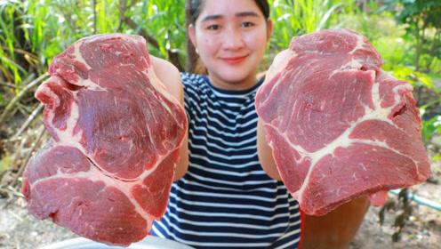 村花户外制作大牛排,肉这么贵还这么奢侈,家里有矿吗?