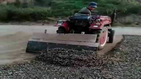拖拉机才是农村老司机的最爱,没事就来个小改装,秒变推土机!